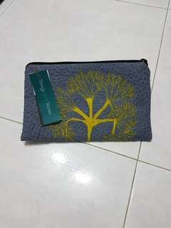 Brand New Grey Blue Colour Thick Fabric Pouch