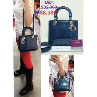 99% New CHRISTIAN DIOR Lady Dior 經典藍色漆皮 配銀色Dior 手挽袋 肩背袋 手袋 Blue Patent with Silver Dior Hardware Handbag