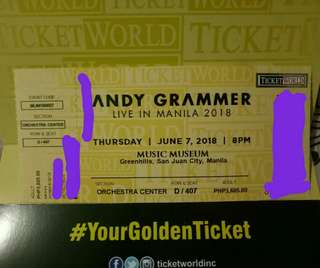 DISCOUNTED ANDY GRAMMER LIVE IN MANILA TICKET
