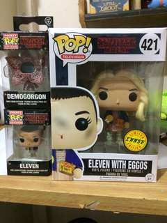 Funko Pop Stranger Things Eleven with Eggos (CHASE), Pocket Pop Eleven and Demogorgon (Set)