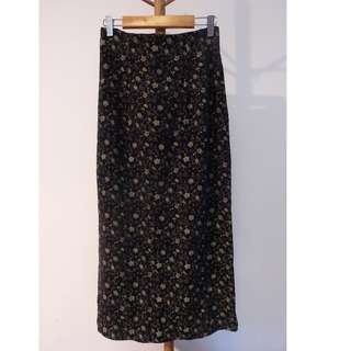 High Waist Maxi Skirt with Gold Floral Prints