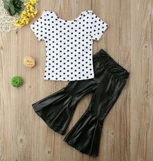 🍀Baby Girl Polka Dot Short Sleeves Top+PU Flared Pants 2pcs Set🍀