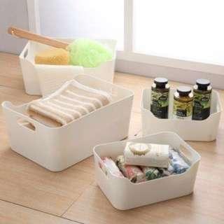 🚚 【收納盒白色款4入組(兩大兩小) 】整理收納盒 開放式整理架 收納架 收納籃 收納籃 保留