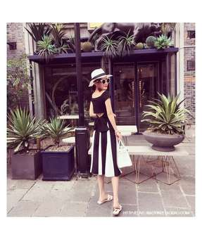 2018 summer new female Korean small fresh word collar seaside holiday beach skirt two piece suit dress