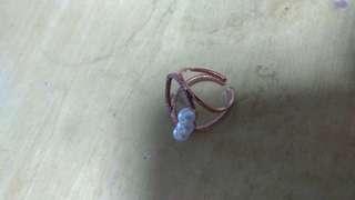 🚚 玫瑰金珍珠水鑽戒指