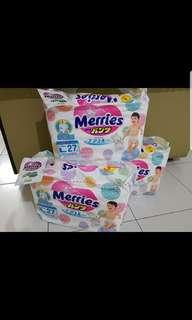 Merries pants diapers -L size 4packs (27pcs)