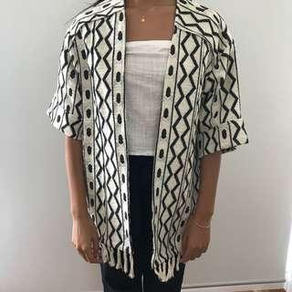 Woven knit kimono