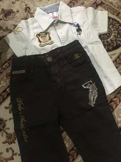 Polo shirt set with jeans