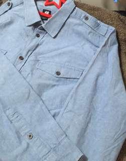 🚚 H&M男性牛仔襯衫 XL