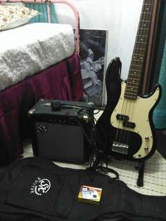 SX Bass Guitar Set with Amp,Cable Cord,Tuner,Stand,Bag and Pick.