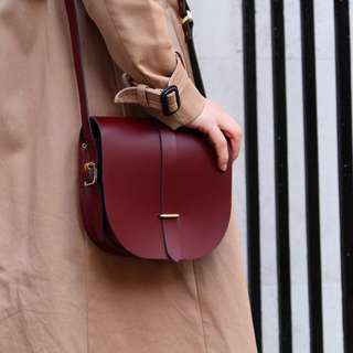 Cambridge Satchel Saddle Bag in Patent Leather (Oxblood Red)