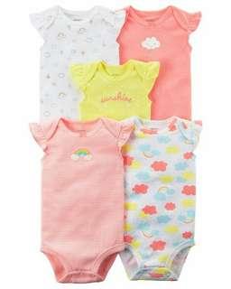 Brand New Instock Carter's 5 Pc Flutter Sleeve Bodysuits Onesies Rompers Girls
