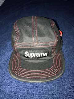 Authentic Supreme Contrast Cross Stitch Camp Cap