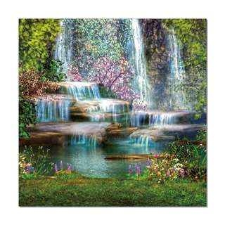 Waterfalls with Colorful Plants Acrylic Print 1 Piece