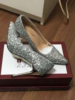 Silver glittery heels