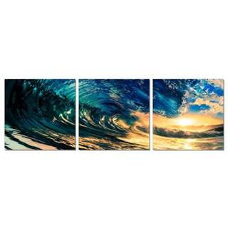 Wave Sunset Acrylic Print 3 Piece