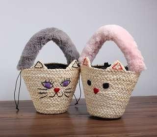 貓咪 草編包 編織包 手工 手提包 可愛 實品拍攝 預購