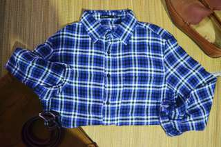 Checkered Long Sleeve Polo| Semir Basic| L | Blue