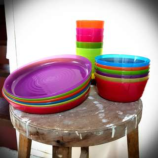 5x Colorful Kids Plastic Party Meal Set (Cup, Plate, Bowl)