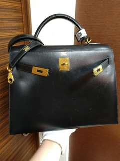Hermes kelly 32 black box calf