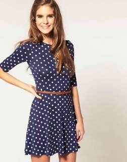 Polka Dots Dress, soft stretch free belt (On hand)