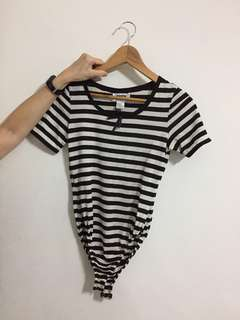 Striped Bodysuit with Front Ribbon
