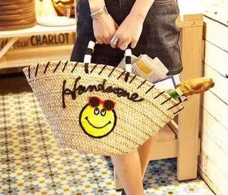 韓 夏日 微笑 笑臉 草編包 編織包 兩色 實品拍攝 獨家
