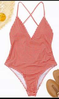 Red checkered maillot