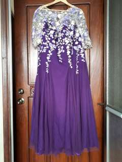 Plus Sized Custom Made Purple Formal Gown