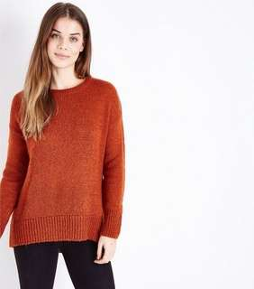 New Look Burnt Orange Knitted Sweater
