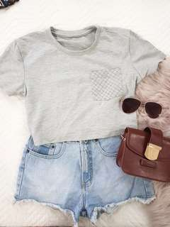 Gray light terry crop top