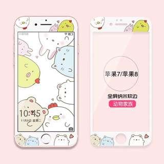 iphone7/8卡通可爱軟邊鋼化膜
