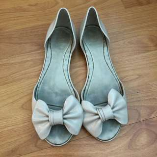 [Pre-Loved] Melissa - Gray Flats with Bow Detail - US 7