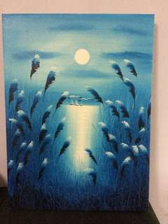 Moonlight by Blue Riverside Oil Painting