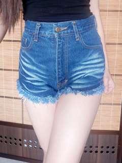 Denim high-waist shorts