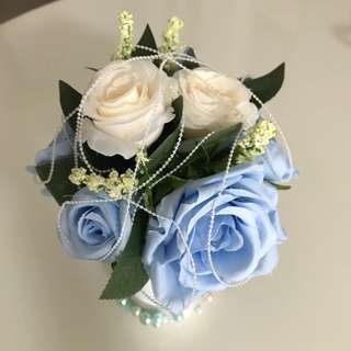 Mini Blue Rose Flaux Flower Pot