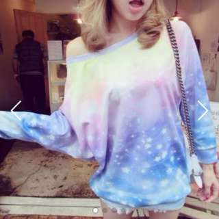 (PO) Rainbow Ombre Long Sleeve Blouse Dress Free Postage