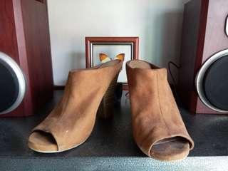 Suede peep-toe shoes