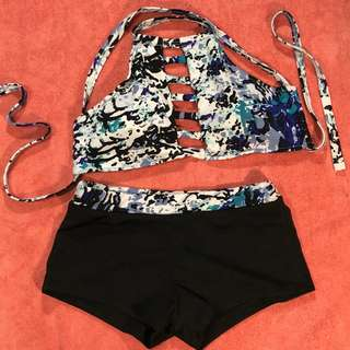 Printed Two-Piece Swimsuit (Top and Shorts)