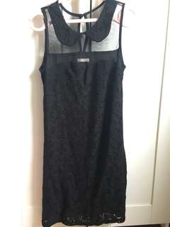 Sheer lace black dress with cute collar