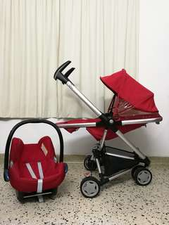 💋💋RED QUINNY ZAPP 1.0 + INFANT CAR SEAT MAXI COSI CABRIOFIX