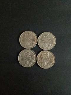 Singapore one dollar coins 4pcs $20
