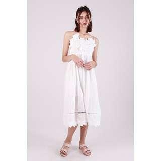 (PO) Snow White Crochet Midi Dress