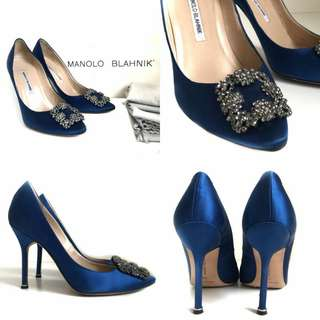 MANOLO BLAHNIK Hangisi Blue  Size 38 • Insole 27 CM Outsole 29 CM Heels 11 CM • Comes with dust bag & box