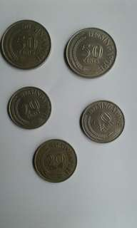 Old Singapore $0.20/$0.50 Coins