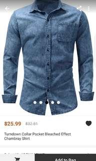 Turndown collar pocket bleached effect chambray shirt