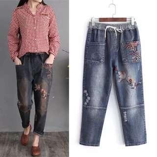 (M~3XL) Korean elastic waistband jeans embroidery nine points harem pants