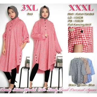Atasan 3XL ( XXXL ) Beauty Katun Yanded Color Lovely Tunik Oversized Long