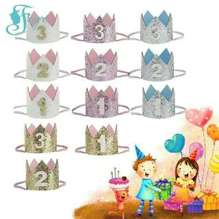 *FREE DELIVERY to WM only / Pre order 15-18 days* Kids glitter birthday crown headband each as shown design/color. Free delivery is applied for this item.