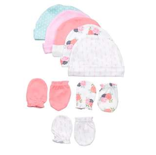 Brand New Hudson Baby Cap and Mittens Set For Baby Girl